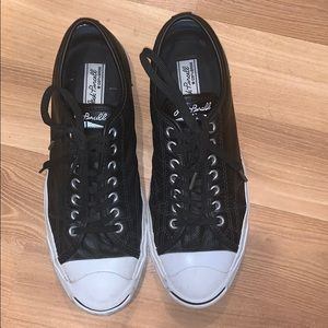 Converse Jack Purcell black leather shoes sz 11.5
